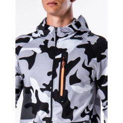 KOMPLET MĘSKI BLUZA + SPODNIE Z17 - CZARNY/BIAŁY. Czarne bluzy męskie rozpinane marki Ombre Clothing, m, z bawełny, z kapturem. Za 119,00 zł.