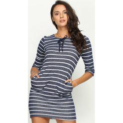Sukienki: Granatowa Sukienka Silky Stripes