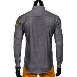 KOSZULA MĘSKA Z DŁUGIM RĘKAWEM K361 - GRAFITOWA. Brązowe koszule męskie na spinki marki Ombre Clothing, m, z aplikacjami, z kontrastowym kołnierzykiem, z długim rękawem. Za 79,00 zł.