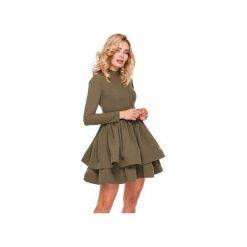 Sukienka OOH LA LA Khaki. Zielone sukienki koktajlowe marki Ooh la la, m, z długim rękawem, rozkloszowane. Za 269,00 zł.