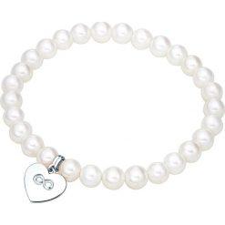 Bransoletki damskie: Bransoletka w kolorze biało-srebrnym z zawieszką