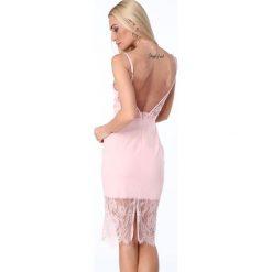 Sukienka z wycięciem na plecach jasnoróżowa ZZ289. Białe sukienki marki Fasardi, l. Za 89,00 zł.