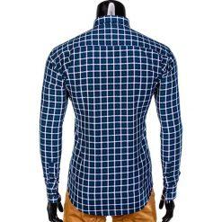 KOSZULA MĘSKA W KRATĘ Z DŁUGIM RĘKAWEM K387 - GRANATOWA/ZIELONA. Brązowe koszule męskie na spinki marki Ombre Clothing, m, z aplikacjami, z kontrastowym kołnierzykiem, z długim rękawem. Za 49,00 zł.