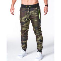 Spodnie męskie: SPODNIE MĘSKIE DRESOWE P657 – ZIELONE/MORO