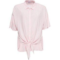Bluzka z krótkim rękawem i przewiązaniem bonprix biel wełny - jasnoróżowy. Czerwone bluzki z odkrytymi ramionami marki bonprix, w paski, z wełny, z krótkim rękawem. Za 74,99 zł.