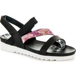 Rzymianki damskie: Czarne sandałki na gumkę VOLETA