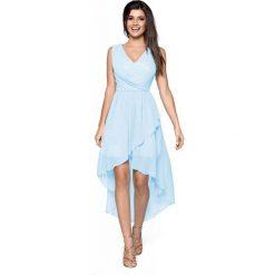 Sukienki: Niebieska Zwiewna Asymetryczna Sukienka z Dekoltem V