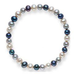 Bransoletki damskie: Bransoletka w kolorze niebiesko-srebrno-białym
