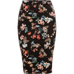 Spódniczki: Spódnica aksamitna bonprix czarny z nadrukiem