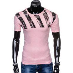 T-SHIRT MĘSKI Z NADRUKIEM S959 - PUDROWY RÓŻ. Czerwone t-shirty męskie z nadrukiem Ombre Clothing, m. Za 29,00 zł.
