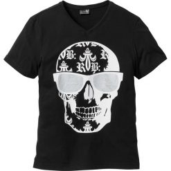 T-shirt Slim Fit bonprix czarny. Czarne t-shirty męskie z nadrukiem bonprix, m. Za 34,99 zł.