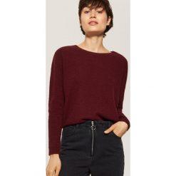 Sweter o ryżowym splocie - Bordowy. Czerwone swetry klasyczne damskie House, l, ze splotem. Za 89,99 zł.