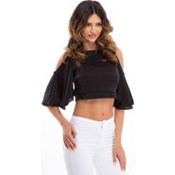 Bluzki asymetryczne: Czarna błyszcząca bluzka 21406