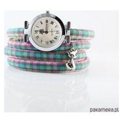 Zegarek, bransoletka - Kot - krata pastelowa. Szare bransoletki damskie na nogę marki Pakamera. Za 95,00 zł.