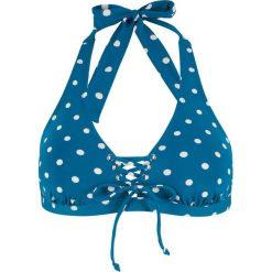 Biustonosz bikini z ramiączkami wiązanymi na szyi, szybko schnący bonprix niebieskozielono-biały w kropki. Niebieskie bikini bonprix, w kropki. Za 69,99 zł.