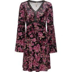 Sukienka bonprix czarno-jasnoróżowy w kwiaty. Czarne sukienki hiszpanki bonprix, w kwiaty, z dekoltem w serek. Za 149,99 zł.