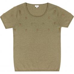 Sweter kaszmirowy w kolorze oliwkowym. Brązowe swetry klasyczne damskie marki Ateliers de la Maille, z kaszmiru, z okrągłym kołnierzem. W wyprzedaży za 363,95 zł.