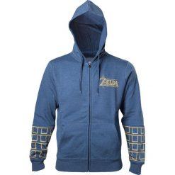 The Legend Of Zelda Breath Of The Wild - Gold Game Logo Bluza z kapturem rozpinana odcienie niebieskiego. Niebieskie bejsbolówki męskie The Legend Of Zelda, xxl, z nadrukiem, z kapturem. Za 199,90 zł.