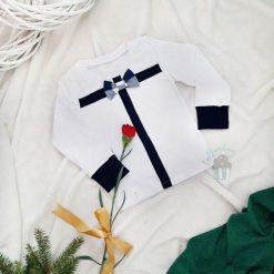 Bluzeczka Gift z muszką - biel i granat. Białe t-shirty chłopięce Pakamera, z aplikacjami. Za 69,00 zł.