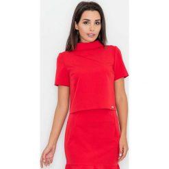 Czerwona Krótka Bluzka z Półgolfem. Czerwone bluzki wizytowe Molly.pl, l, z tkaniny, biznesowe, z krótkim rękawem. Za 119,90 zł.