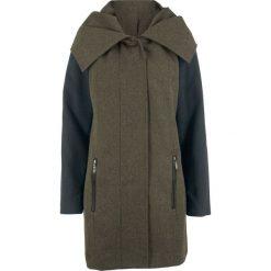 Płaszcz z dużym kołnierzem bonprix czarno-ciemnooliwkowy wzorzysty. Czarne płaszcze damskie bonprix. Za 239,99 zł.
