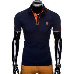 KOSZULKA MĘSKA POLO BEZ NADRUKU S920 - GRANATOWA. Niebieskie koszulki polo marki Ombre Clothing, m, z nadrukiem. Za 49,00 zł.