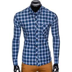 Koszule męskie na spinki: KOSZULA MĘSKA W KRATĘ Z DŁUGIM RĘKAWEM K415 – GRANATOWA/BŁĘKITNA