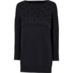 Sweter bonprix czarny. Czarne swetry klasyczne damskie marki bonprix, z okrągłym kołnierzem. Za 109,99 zł.