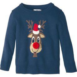 Bożonarodzeniowy sweter dzianinowy bonprix ciemnoniebieski. Niebieskie swetry chłopięce marki bonprix, m, z dzianiny, z okrągłym kołnierzem. Za 59,99 zł.