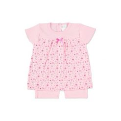 Pink or blue  Girls Sukienka/body z marszczeniem Flowers kolor różowy. Czerwone body niemowlęce marki pink or blue, z bawełny, z długim rękawem, długie, maxi. Za 37,00 zł.