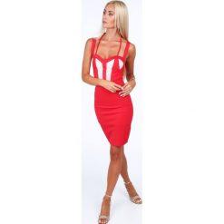 Sukienka z podwójnymi ramiączkami czerwona ZZ226. Czerwone sukienki marki bonprix, na lato, w grochy, z dzianiny, z podwójnym kołnierzykiem, moda ciążowa, dopasowane. Za 119,00 zł.