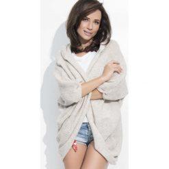 Swetry oversize damskie: Beżowy Sweter Narzutka z Kapturem