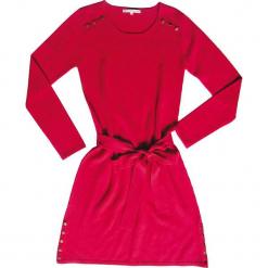 Sukienka kaszmirowa w kolorze różowym. Czerwone sukienki na komunię Ateliers de la Maille, na imprezę, z aplikacjami, z kaszmiru, z okrągłym kołnierzem, midi. W wyprzedaży za 545,95 zł.