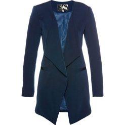 Długi żakiet bonprix ciemnoniebieski. Niebieskie marynarki i żakiety damskie marki bonprix, z nadrukiem. Za 149,99 zł.