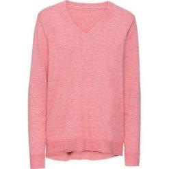 Sweter bonprix jasnoróżowy melanż. Czerwone swetry klasyczne damskie bonprix. Za 79,99 zł.