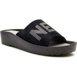 Buty ślubne damskie: Klapki damskie na koturnie czarne Vinceza
