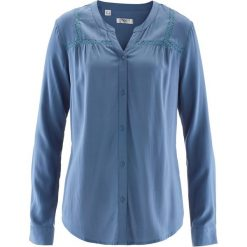 Bluzki asymetryczne: Bluzka z koronkowymi zdobieniami bonprix niebieski dżins