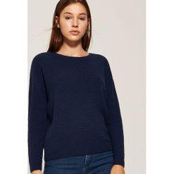 Sweter o ryżowym splocie - Granatowy. Niebieskie swetry klasyczne damskie marki House, l, ze splotem. Za 69,99 zł.