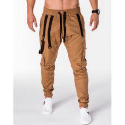 SPODNIE MĘSKIE JOGGERY P716 - RUDE. Brązowe joggery męskie Ombre Clothing. Za 74,00 zł.