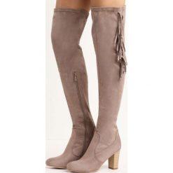 Jasnobrązowe Kozaki Dexterous. Szare buty zimowe damskie marki Born2be, z okrągłym noskiem, na wysokim obcasie, na obcasie. Za 74,99 zł.