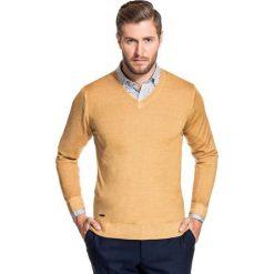 Sweter MARTINO SWKS000100. Brązowe swetry klasyczne męskie Giacomo Conti, na jesień, m, z wełny, z klasycznym kołnierzykiem. Za 229,00 zł.