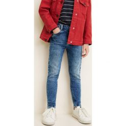 Mango Kids - Jeansy dziecięce Lora 104-164 cm. Szare jeansy dziewczęce Mango Kids, z aplikacjami, z bawełny, z podwyższonym stanem. Za 89,90 zł.