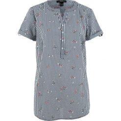 Bluzka, krótki rękaw bonprix ciemnoniebiesko-biały w paski. Niebieskie bluzki damskie bonprix, w paski, z krótkim rękawem. Za 69,99 zł.