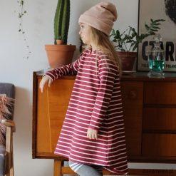 Sukienka, tunika w paski. Czerwone sukienki dziewczęce marki Pakamera, na jesień, w paski. Za 111,00 zł.