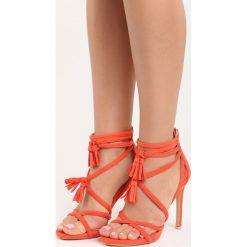 Koralowe Sandały Wiren. Pomarańczowe sandały damskie Born2be, z materiału, na wysokim obcasie, na obcasie. Za 39,99 zł.
