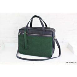 Shopper bag damskie: ZAMSZOWA My. Q Lady granat - butelkowa zieleń