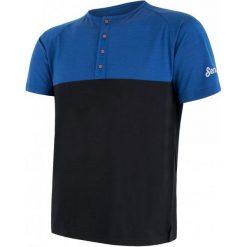 Odzież termoaktywna męska: Sensor T-Shirt Męski Z Guzikami Merino Air Pt Niebiesko-Czarny M