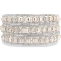 Bransoletki damskie na nogę: Skórzana bransoletka w kolorze białym z perłami słodkowodnymi