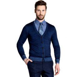 Sweter ADAMO SWG000002. Niebieskie swetry rozpinane męskie Giacomo Conti, m, z wełny, klasyczne, z klasycznym kołnierzykiem. Za 299,00 zł.