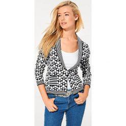 Odzież damska: Sweter rozpinany w kolorze czarno-białym